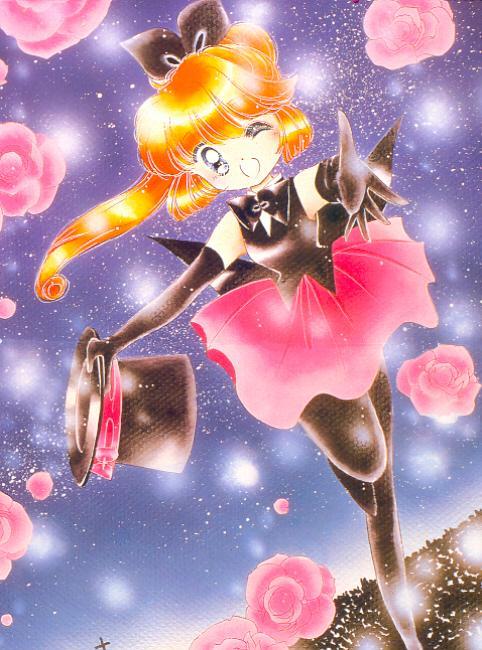 1girl 90s black_gloves black_legwear elbow_gloves flower gloves haneoka_meimi kaitou_saint_tail magical_girl official_art one_eye_closed pantyhose pink_rose rose saint_tail solo tachikawa_megumi wink