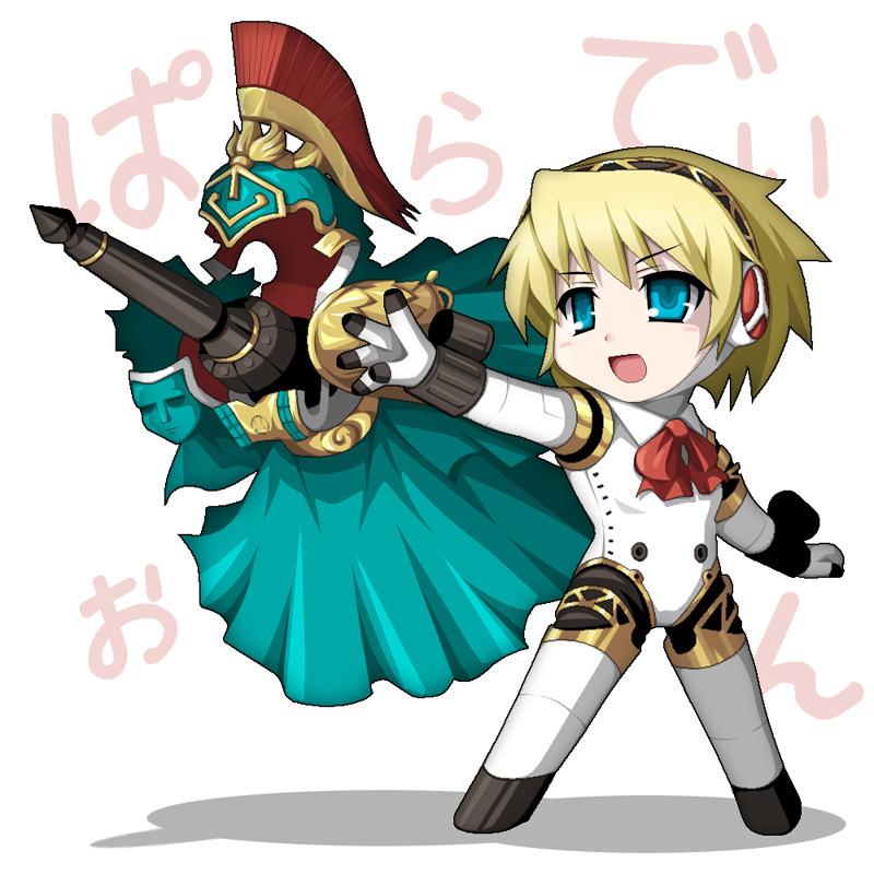 1girl aegis aegis_(persona) android atlus blonde_hair blue_eyes bow chibi cyborg fukaiton palladion persona persona_3 ribbon robot_joints short_hair