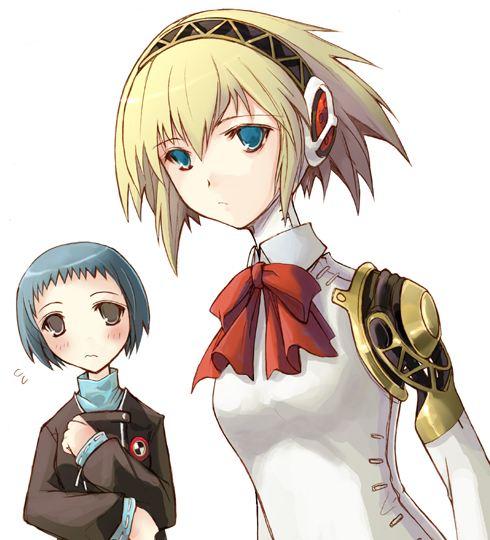 aegis aegis_(persona) android aqua_hair atlus blonde_hair blue_eyes bow brown_eyes kotonemaru persona persona_3 ribbon school_uniform serafuku short_hair yamagishi_fuuka