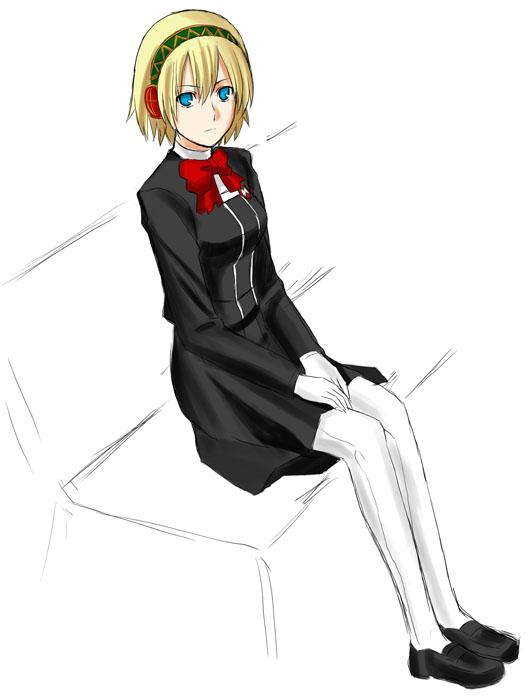 1girl aegis aegis_(persona) android atlus bow persona persona_3 ribbon school_uniform serafuku short_hair solo tosibow