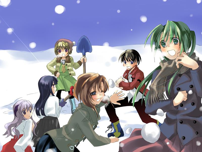 1boy 5girls blonde_hair furude_rika hanyuu higurashi_no_naku_koro_ni houjou_satoko maebara_keiichi multiple_girls pantyhose ryuuguu_rena snow snowing sonozaki_mion winter