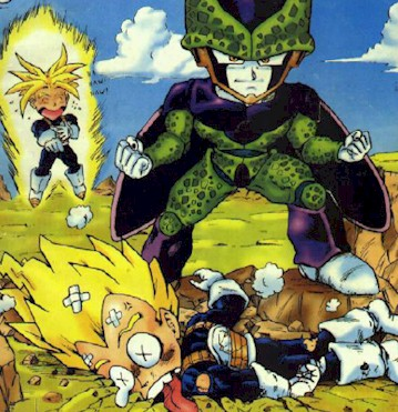 3boys armor aura bandage blonde_hair boots cell_(dragon_ball) celulitis_(dragon_fall) chibi closed_mouth clouds day defeated dragon_ball dragon_fall dragonball_z dragonfall eyebrows gloves lowres lying male_focus multiple_boys on_stomach open_mouth outdoors parody perfect_cell sky spiky_hair standing super_saiyan tongue trakatranks_(dragon_fall) trunks_(dragon_ball) vegeta vegetal_(dragon_fall) x_x