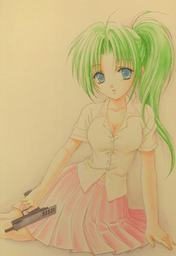 1girl green_hair gun handgun higurashi_no_naku_koro_ni houjou_yutori pistol solo sonozaki_mion weapon