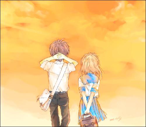 1boy 1girl couple dated hetero higurashi_no_naku_koro_ni lowres maebara_keiichi ryuuguu_rena signature