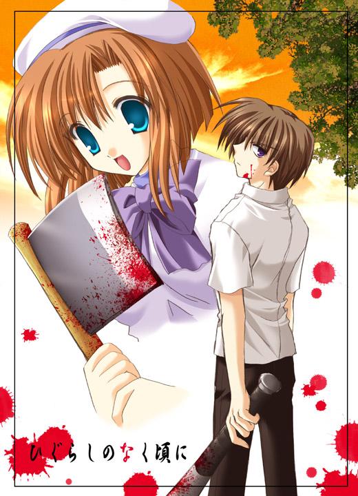 1boy 1girl baseball_bat billhook blood couple hatchet hetero higurashi_no_naku_koro_ni maebara_keiichi nekoneko ryuuguu_rena
