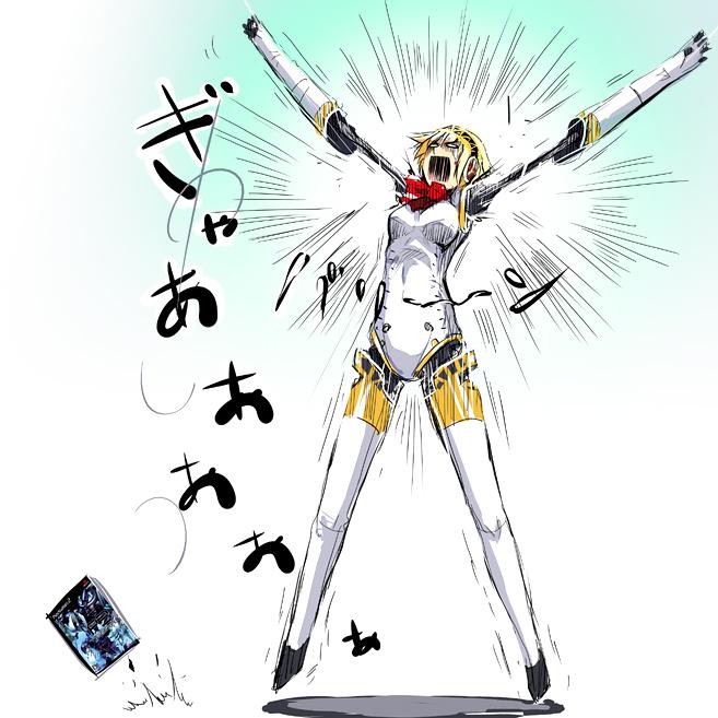 1girl aegis aegis_(persona) android atlus blonde_hair bow nodame_cantabile parody persona persona_3 puyo pyuu_to_fuku!_jaguar ribbon solo tears