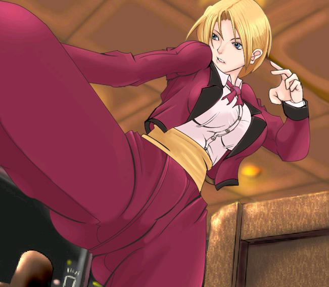 1girl androgynous blonde_hair blue_eyes bow bowtie formal king_(snk) king_of_fighters mokusa pant_suit reverse_trap ryuuko_no_ken short_hair snk solo suit the_king_of_fighters tuxedo