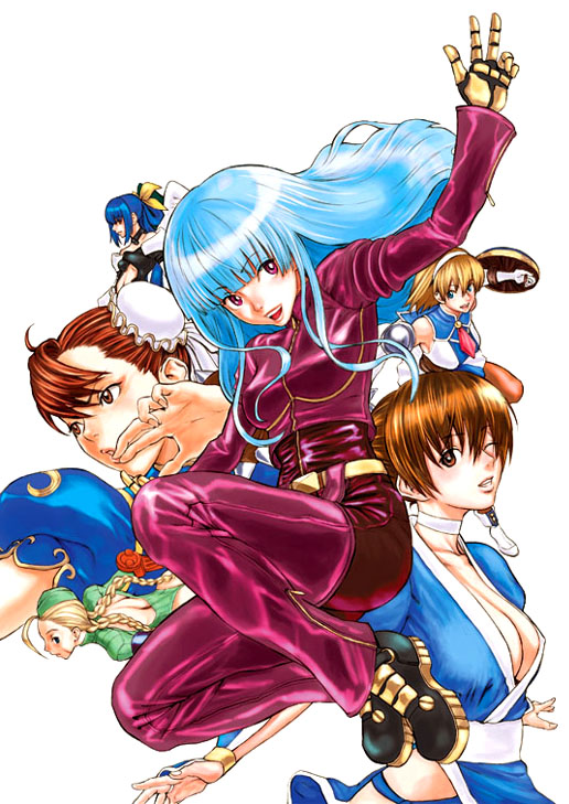 6+girls 90s arc_system_works asymmetrical_wings belt blonde_hair blue_eyes blue_hair blush bracelet braid breasts brown_eyes brown_hair bun_cover cammy_white cassandra_alexandra china_dress chinese_clothes chun-li cleavage crossover dead_or_alive detached_sleeves dizzy double_bun dress elbow_gloves everyone fingerless_gloves garrison_cap gloves guilty_gear hairband hat jewelry kasumi_(doa) king_of_fighters kula_diamond large_breasts leotard long_hair multiple_crossover multiple_girls namco navel necktie nekoi_mie ninja one_eye_closed panties pantyhose pelvic_curtain pink_necktie ponytail red_eyes ribbon sammy shield shoes short_hair smile snk soul_calibur soulcalibur_ii spandex street_fighter street_fighter_ii street_fighter_zero street_fighter_zero_(series) sword tecmo the_king_of_fighters thigh-highs thighs twin_braids twintails underwear weapon wings wink