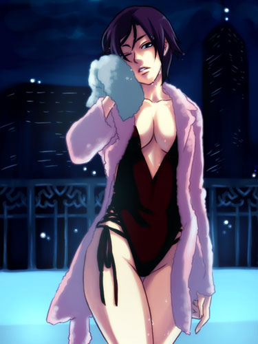 1girl black_hair breasts casual_one-piece_swimsuit cleavage drying elisabeth_blanctorche kabane_(follabi) king_of_fighters lowres one-piece_swimsuit one_eye_closed robe short_hair snk solo swimsuit the_king_of_fighters wet wince wink