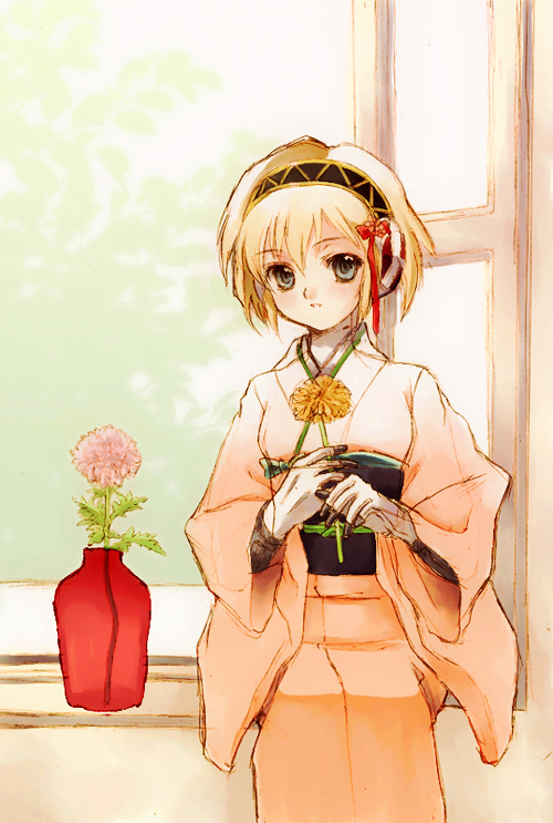 aegis aegis_(persona) android atlus blonde_hair blue_eyes hijiri_ruka japanese_clothes kimono persona persona_3 short_hair