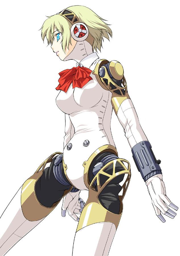 1girl aegis aegis_(persona) android atlus blonde_hair blue_eyes bow cyborg kouda_tomohiro persona persona_3 ribbon robot_joints short_hair simple_background solo