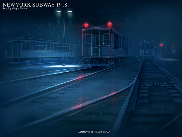 artist_name blue english lamppost new_york night no_humans original railroad_tracks scenery seo_tatsuya snow spot_color subway train watermark