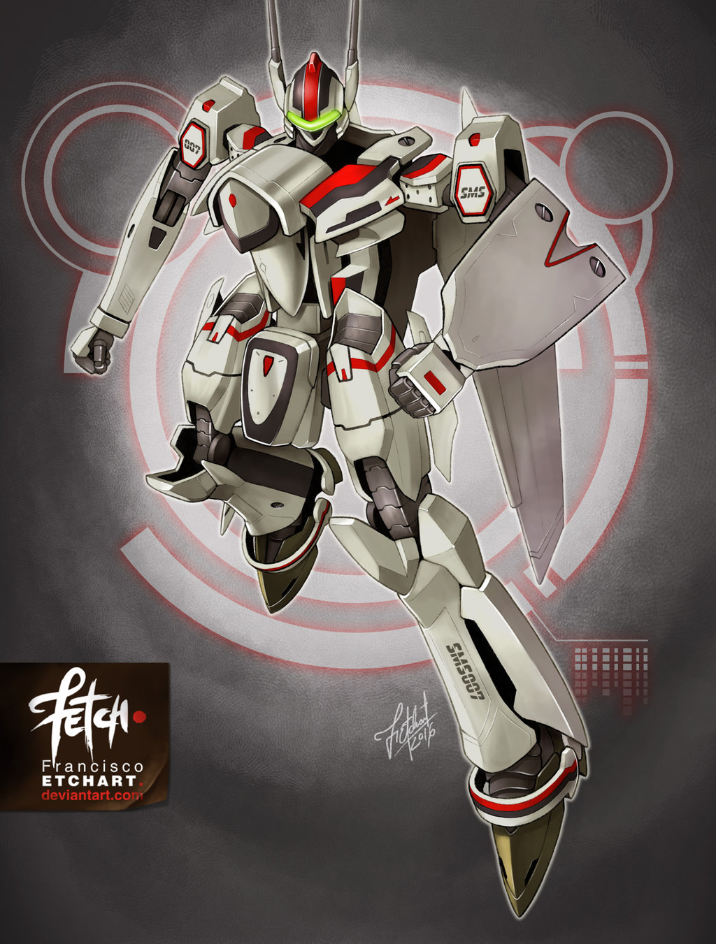 2016 dated energy_cannon franciscoetchart highres macross macross_frontier mecha s.m.s. science_fiction shield signature tagme variable_fighter vf-25 watermark
