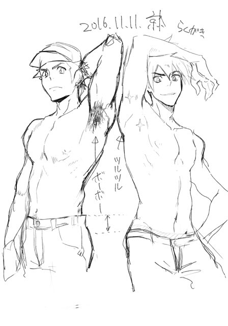 2016 2boys adonis_belt arm_behind_head arm_up armpit_hair baseball_cap comparison dated denim eyebrows_visible_through_hair groin hand_on_hip hat jeans kyouta_(a01891226) looking_at_viewer male_focus monochrome multiple_boys nipples ookido_green ookido_green_(sm) pants pokemon pokemon_(game) pokemon_sm red_(pokemon) red_(pokemon)_(sm) short_hair signature sketch smirk sparkle spiky_hair white_background