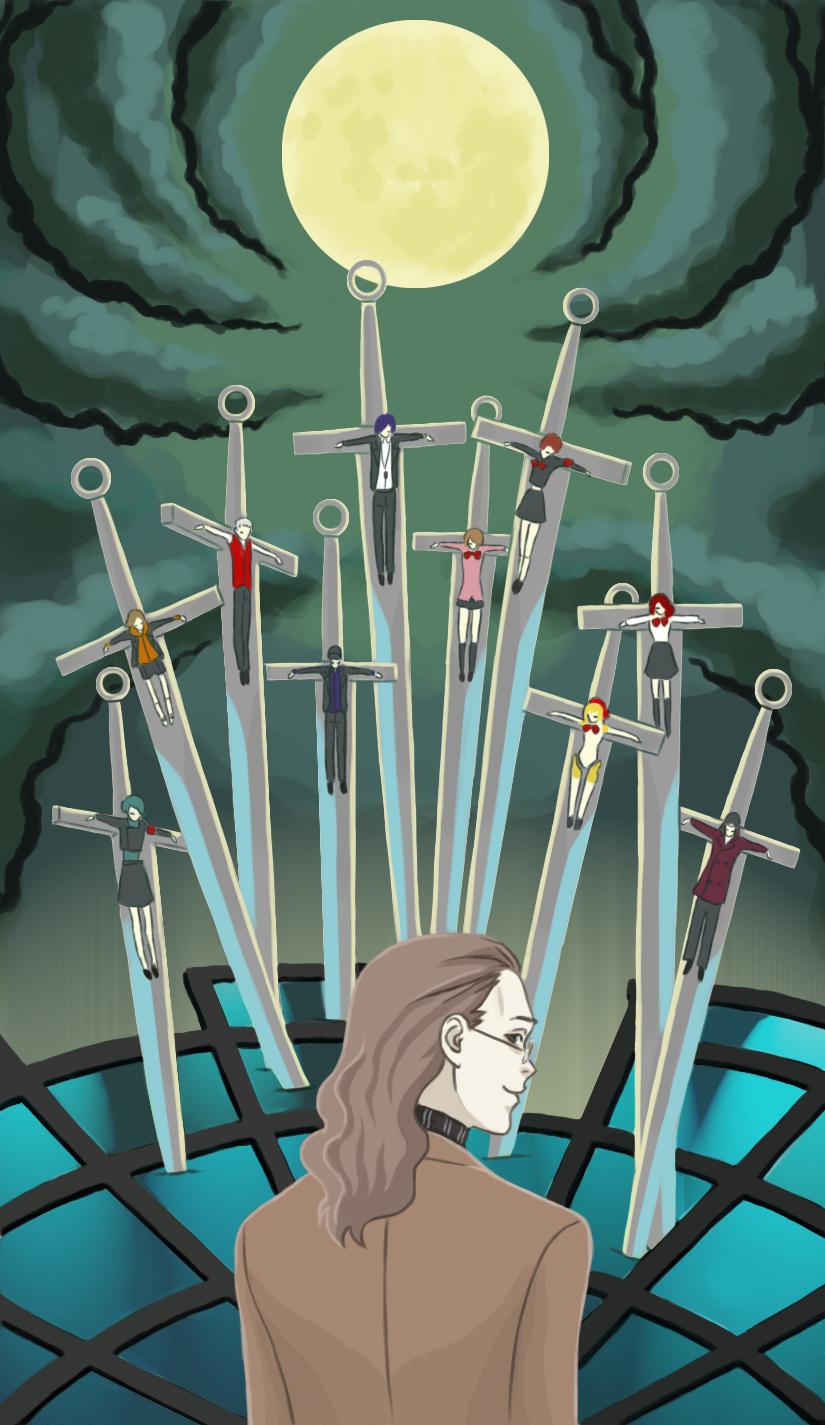aegis aegis_(persona) amada_ken arisato_minato card_(medium) eugenia_beilschmidt female_protagonist_(persona_3) highres ikutsuki_shuuji iori_junpei kirijou_mitsuru moon persona persona_3 persona_3_portable sanada_akihiko sword takeba_yukari tarot tarot_arcana weapon yamagishi_fuuka yuuki_makoto