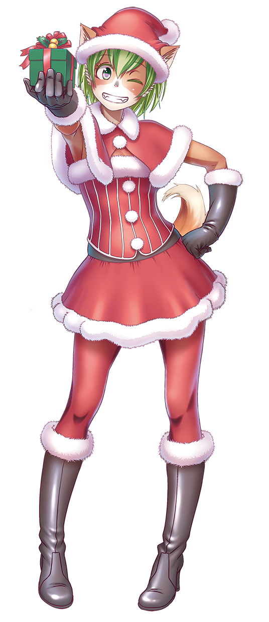 1girl animal_ears black_gloves boots elbow_gloves full_body furry gift gloves green_hair grin hand_on_hip hat highres knee_boots one_eye_closed pantyhose pigeon-toed red_legwear santa_costume santa_hat simple_background skirt smile solo tail tewatasanaiinu white_background wokada