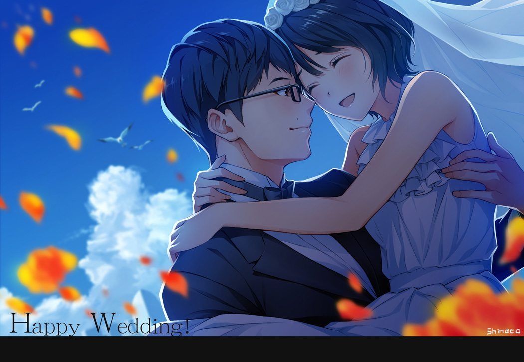 1boy 1girl black_hair blue_sky bow bowtie bridal_veil carrying closed_eyes couple dress glasses hetero moriyama_mikuri nigeru_wa_haji_daga_yaku_ni_tatsu petals princess_carry short_hair sky smile spoilers text tsuzaki_hiramasa tuxedo veil wedding wedding_dress yamaoka_sawara