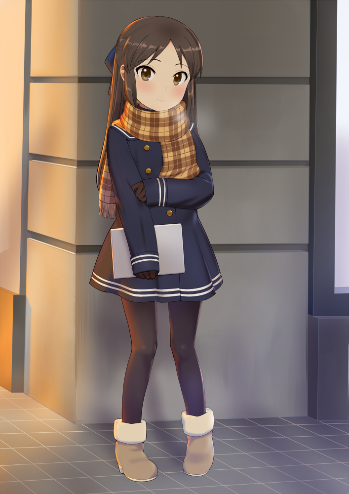 1girl black_hair black_legwear blush bow breath brown_eyes brown_hair full_body hair_bow idolmaster idolmaster_cinderella_girls light_smile long_hair looking_at_viewer pantyhose pettan_p plaid plaid_scarf scarf school_uniform solo tablet_pc tachibana_arisu