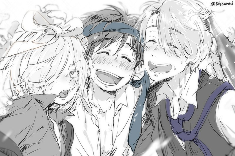 3boys ^_^ alcohol blush boy_sandwich champagne champagne_bottle closed_eyes drunk hair_over_one_eye katsuki_yuuri kl male_focus monochrome multiple_boys necktie necktie_on_head open_mouth sandwiched smile spot_color viktor_nikiforov yuri!!!_on_ice yuri_plisetsky