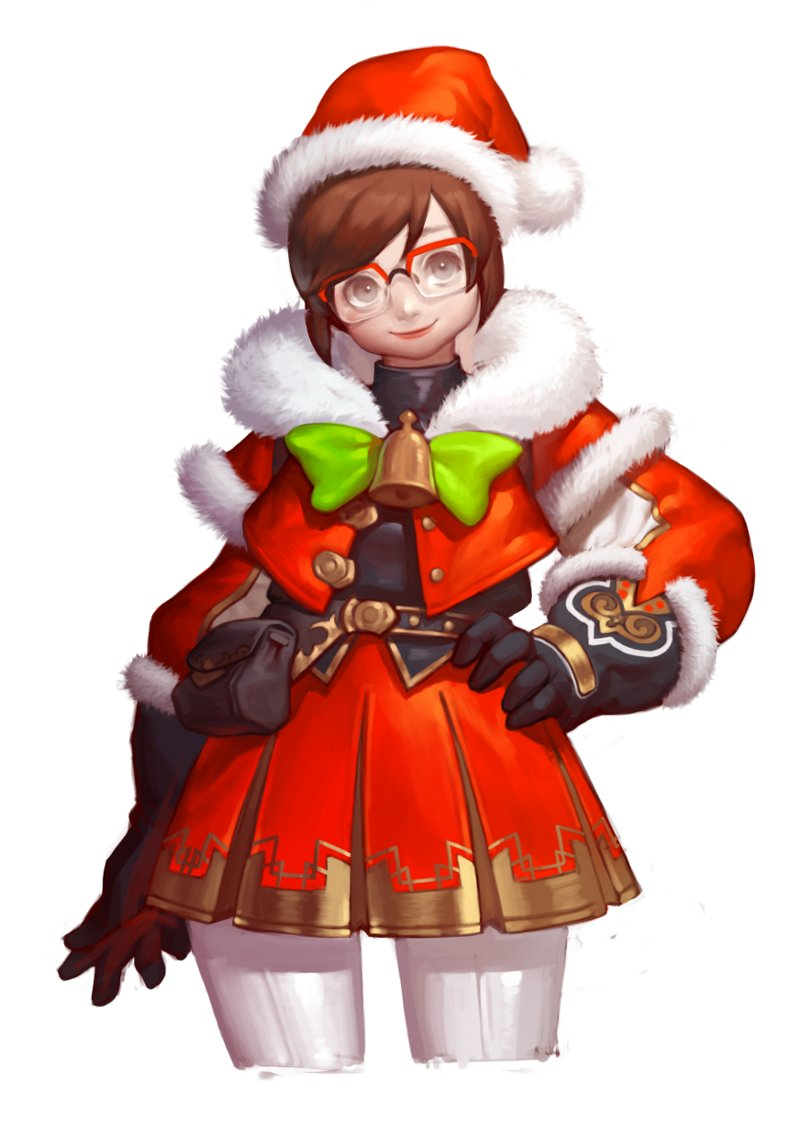 1girl alternate_costume bangs bell belt belt_pouch bow bowtie brown_eyes brown_hair capelet christmas closed_mouth cowboy_shot dress elbow_gloves fur-trimmed_gloves fur_gloves fur_trim glasses gloves green_bow green_bowtie hand_on_hip hat long_sleeves looking_at_viewer mei_(overwatch) nose overwatch pants pimo_(pinkmojitodiary) pink_lips pleated_skirt pom_pom_(clothes) red-framed_eyewear red_hat red_skirt santa_costume santa_hat short_hair sidelocks simple_background skirt skirt_set solo swept_bangs white_background white_pants
