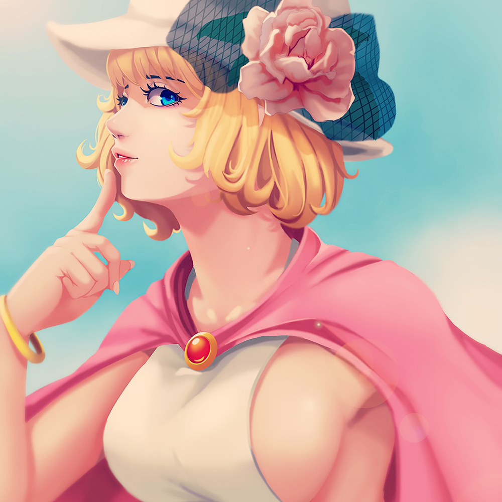 1girl ari_rayoko blonde_hair blue_eyes bracelet breasts cape commentary flower hat jewelry large_breasts lens_flare lips looking_at_viewer one_piece portrait short_hair sideboob solo stussy upper_body