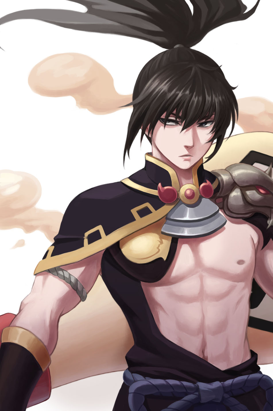 1boy abs bangs bei_ju_luoxuan_wan black_eyes black_hair chest closed_mouth cosplay cosplay_request floating_hair gintama highres hijikata_toushirou japanese_clothes lips long_hair looking_to_the_side magatama male_focus muscle navel nipples onmyoji pauldrons ponytail rope sash simple_background smoke solo stomach upper_body white_background
