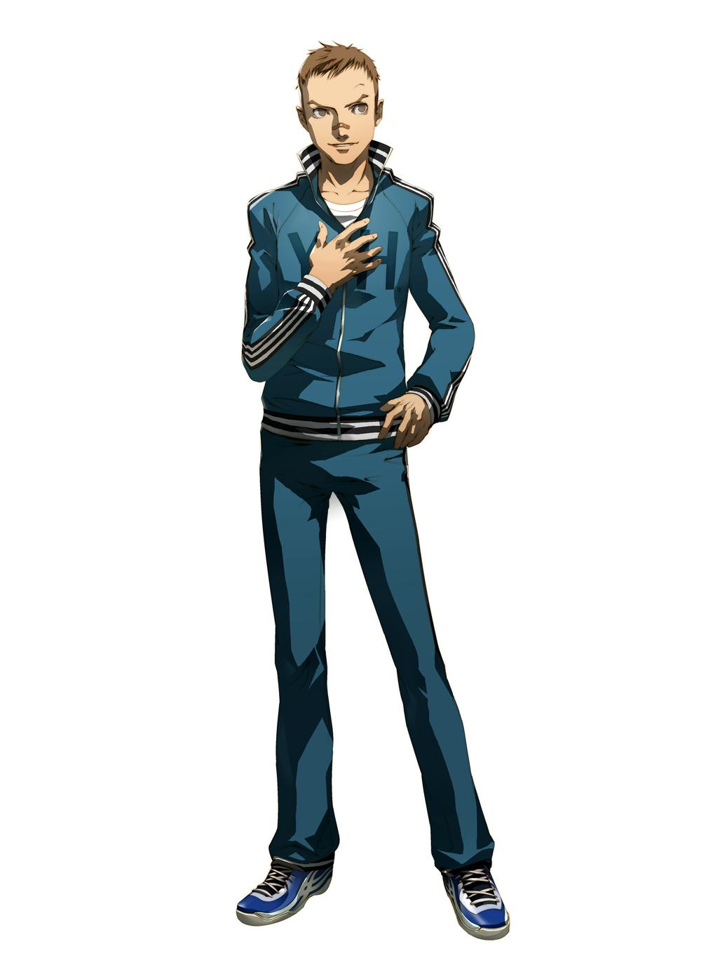 bandage brown_eyes brown_hair highres jacket male nagase_daisuke official_art persona persona_4 shigenori_soejima short_hair smile soejima_shigenori track_jacket