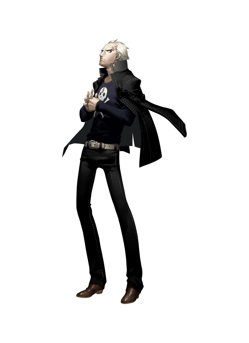 highres jacket jacket_on_shoulders jewelry male necklace official_art persona persona_4 scar shigenori_soejima short_hair silver_hair skull soejima_shigenori tatsumi_kanji