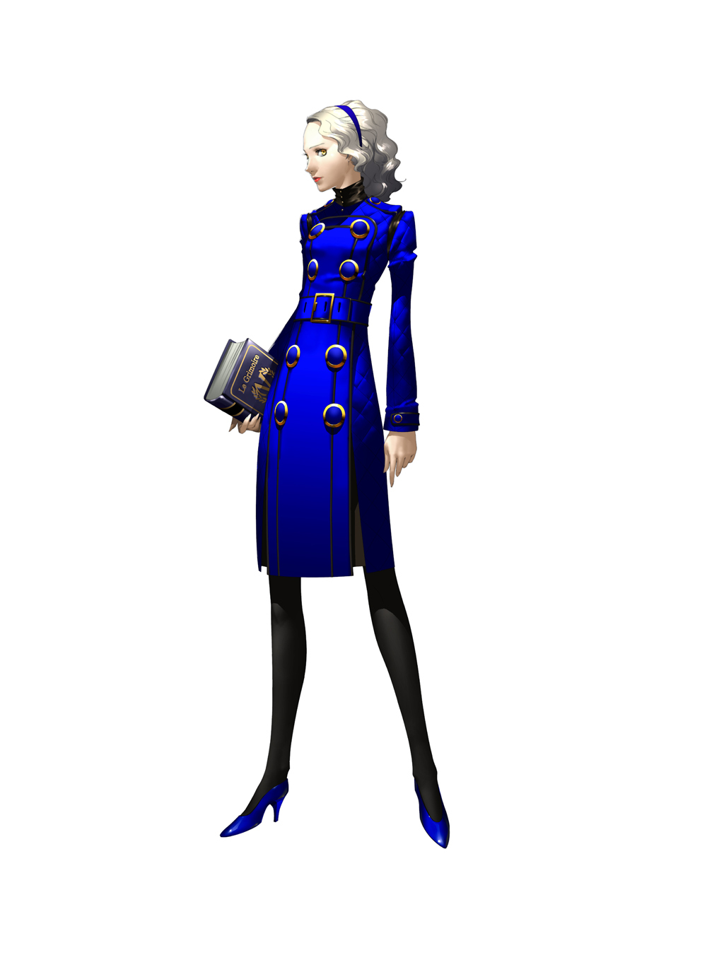 dress hairband high_heels highres lipstick long_hair makeup margaret official_art pantyhose persona persona_4 shigenori_soejima shoes silver_hair soejima_shigenori wavy_hair yellow_eyes