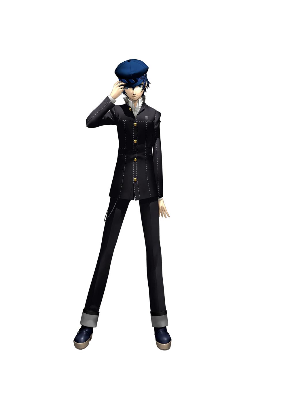 androgynous blue_eyes blue_hair cabbie_hat hat highres jacket official_art persona persona_4 reverse_trap shigenori_soejima shirogane_naoto short_hair soejima_shigenori solo
