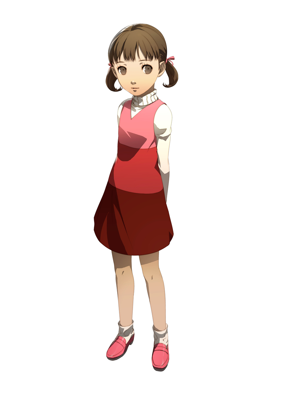 arms_behind brown_eyes brown_hair child doujima_nanako dress highres loli official_art persona persona_4 shigenori_soejima short_twintails soejima_shigenori turtleneck twintails