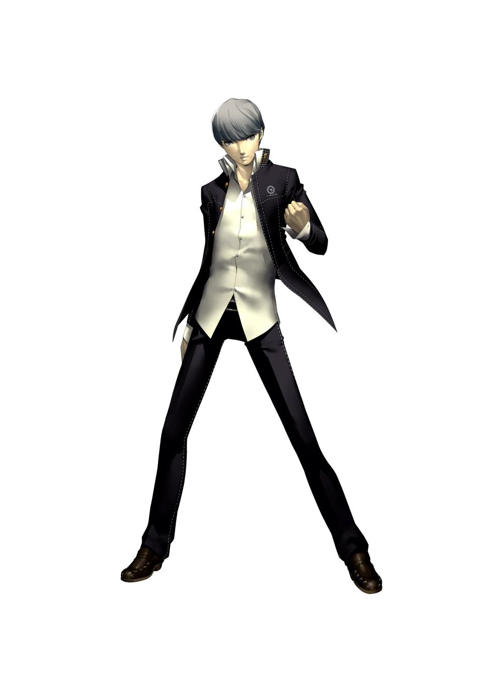 highres jacket male narukami_yuu official_art persona persona_4 seta_souji shigenori_soejima shirt short_hair silver_hair soejima_shigenori