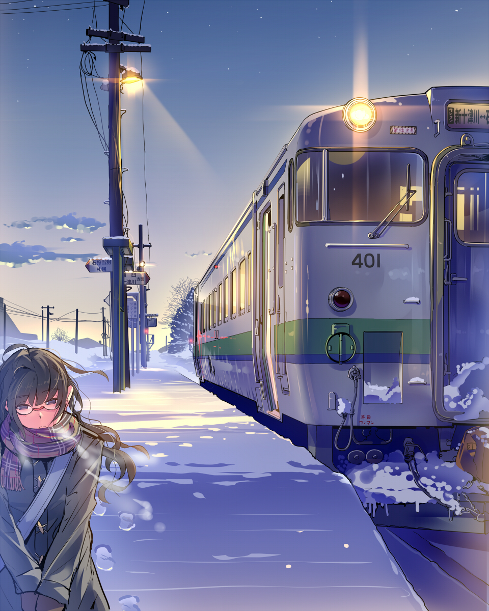 1girl bag breath brown_eyes brown_hair clouds coat daito glasses ground_vehicle highres hokkaido jacket lamp long_hair original outdoors plaid plaid_scarf real_world_location red-framed_eyewear red_scarf road scarf scenery school_bag shoulder_bag sky snow snowing train v_arms winter winter_clothes winter_coat