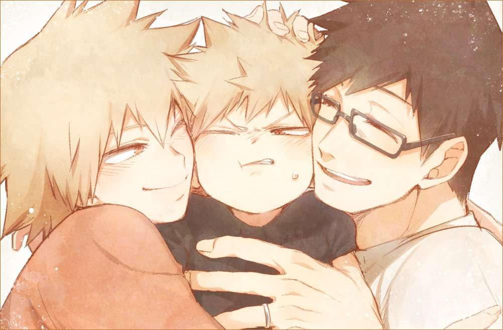 1girl 2boys :d :t ;) arm_over_shoulder bakugou_katsuki bakugou_masaru bakugou_mitsuki black-framed_eyewear black_hair blonde_hair blush boku_no_hero_academia border child eyelashes family father_and_son glasses hand_in_another's_hair hug husband_and_wife jewelry mother_and_son multiple_boys one_eye_closed open_mouth red_eyes ring sandwiched shirt shoco_(sco_labo) short_hair simple_background smile spiky_hair sweatdrop t-shirt upper_body wedding_band younger