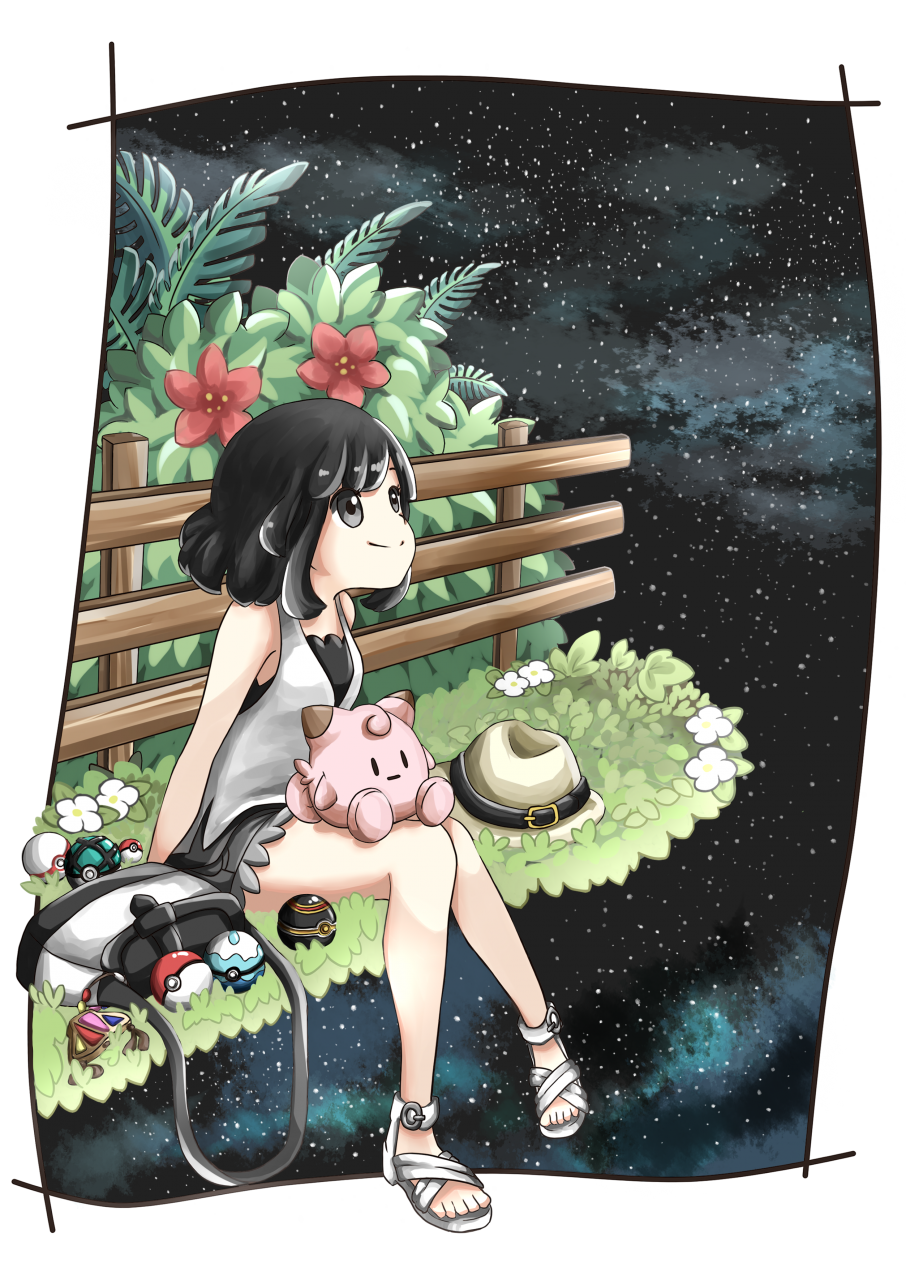 1girl arms_behind_back bag bangs bare_arms bare_legs bare_shoulders barefoot belt black_border black_eyes black_hair black_shorts border bush clefairy cutoffs dive_ball female_protagonist_(pokemon_sm) fence flower grass handbag hat hat_belt hat_removed headwear_removed highres knees_together_feet_apart koyori-018 leaf looking_up luxury_ball night outdoors parted_bangs poke_ball pokemon pokemon_(game) pokemon_sm premier_ball sandals shirt shoes short_hair shorts simple_background sitting sky smile solo star_(sky) starry_sky stuffed_toy tank_top trilby white_background white_shirt white_shoes wooden_fence