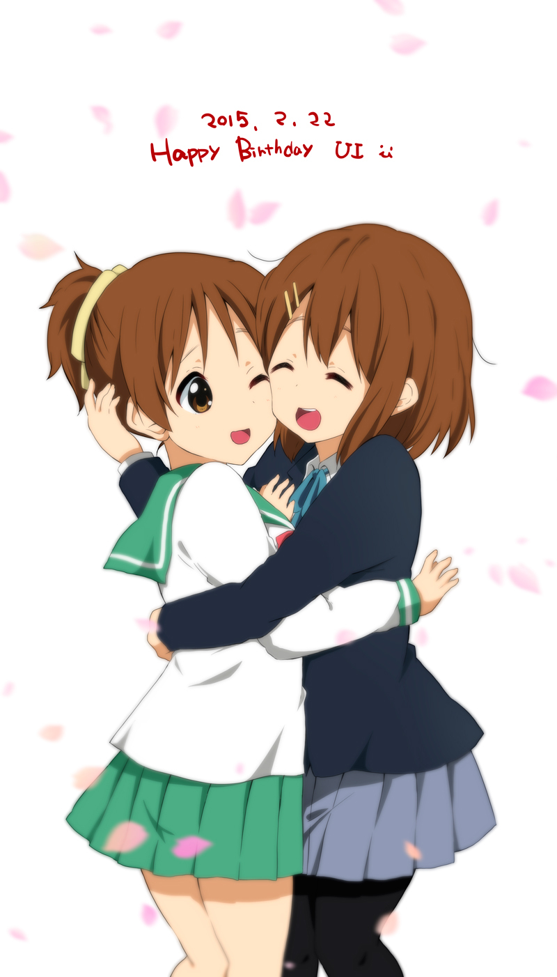 2girls :d ;d ^_^ bangs blue_ribbon blue_skirt blurry brown_eyes brown_hair cheek-to-cheek closed_eyes collared_shirt dated depth_of_field green_skirt hair_ornament hairclip happy_birthday highres hirasawa_ui hirasawa_yui hug k-on! multiple_girls official_style one_eye_closed open_mouth pantyhose petals pleated_skirt ponytail ragho_no_erika ribbon round_teeth school_uniform serafuku shirt short_hair siblings sisters skirt smile smiley_face teeth white_background white_shirt