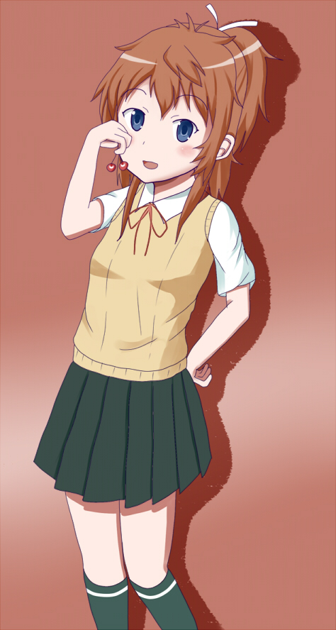 1girl blue_eyes blush cherry deviantart food fruit koshigaya_natsumi long_hair non_non_biyori open_mouth ponytail red_hair school_uniform shimauo smile solo