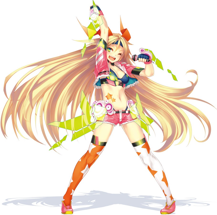 1girl ;d arm_up belt blonde_hair bra candy fingerless_gloves gradient_eyes headband jacket long_hair mascot microphone navel open_mouth short_shorts small_breasts solo speakers stars stockings straight_hair tagme thigh_highs unity-chan unity_(game_engine) white_background winking