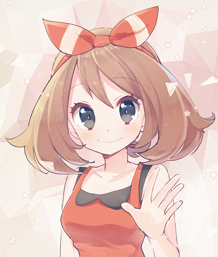 1girl blue_eyes blush brown_hair eyebrows_visible_through_hair hair_ribbon haruka_(pokemon) haruka_(pokemon)_(remake) kurochiroko looking_at_viewer outstretched_hand pokemon pokemon_(game) pokemon_oras ribbon short_hair sketch sleeveless smile solo