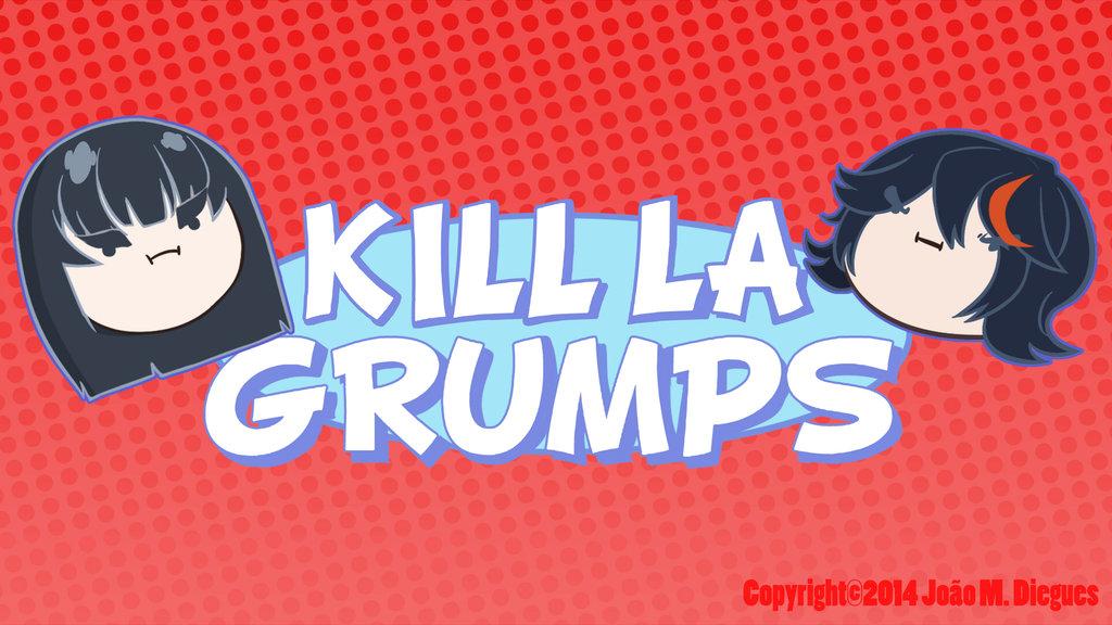 black_hair face game_grumps jontaigus kill_la_kill kiryuuin_satsuki logo logo_parody matoi_ryuuko parody thick_eyebrows watermark