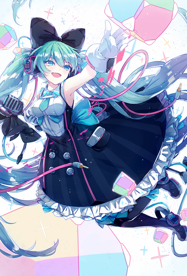 1girl :d aqua_bow aqua_eyes aqua_hair aqua_necktie armpits bangs black_bow black_legwear blue_eyes bow breasts cable colored_eyelashes cube dress eyebrows_visible_through_hair eyelashes floating_hair gloves hair_between_eyes hair_bow hatsune_miku head_tilt headphones holding long_hair lyodi magical_mirai_(vocaloid) medium_breasts microphone_stand necktie open_hand open_mouth outstretched_arm palms pantyhose pocket reaching shiny shiny_hair shoes sleeveless smile solo splatter transparent twintails unplugged very_long_hair vocaloid white_gloves