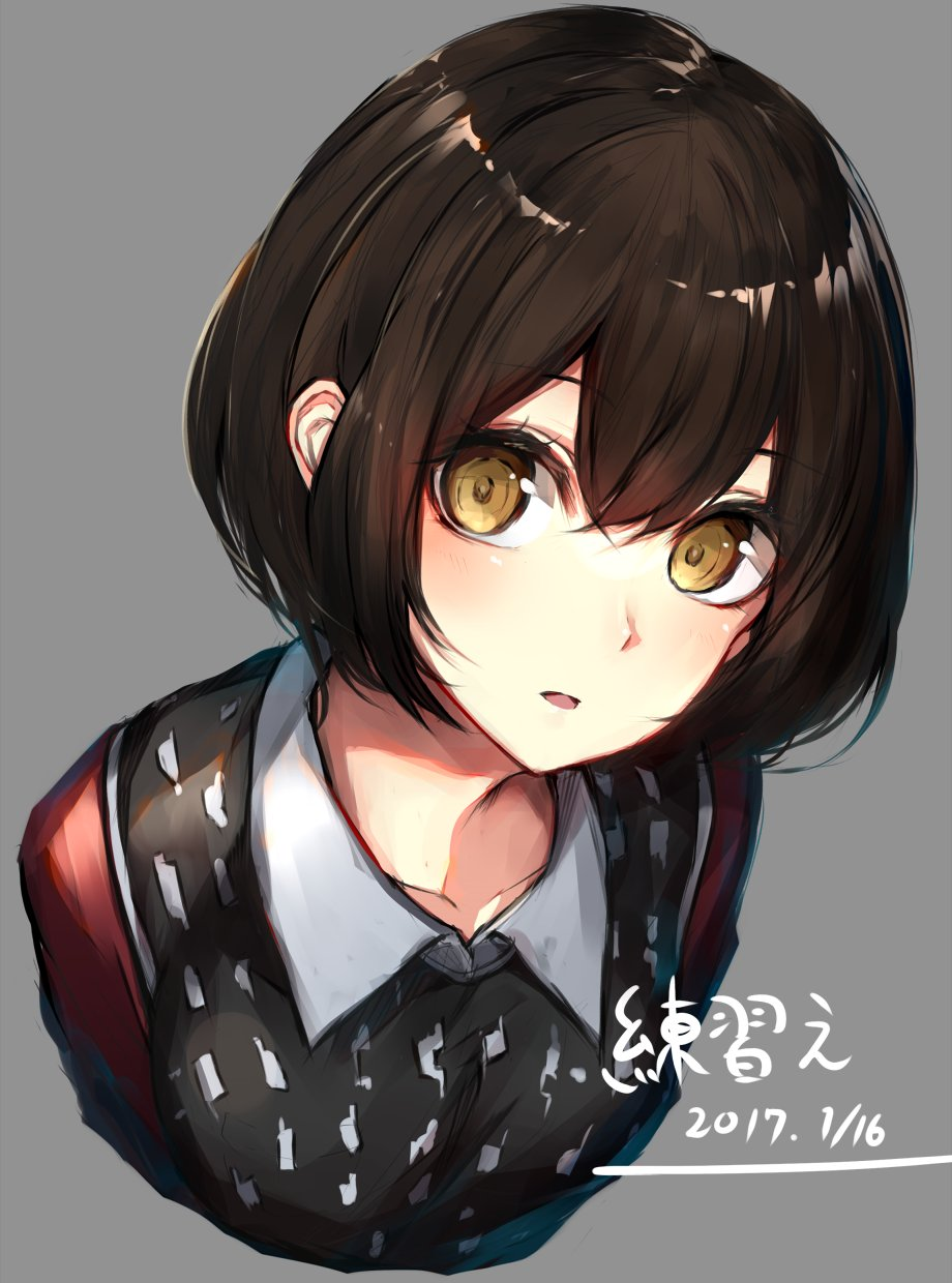 1girl bangs blush bob_cut breasts brown_eyes brown_hair collarbone collared_shirt commentary dated eyebrows_visible_through_hair grey_background grey_shirt hair_between_eyes highres leaning_forward looking_at_viewer medium_breasts original oyu_(sijimisizimi) parted_lips shirt short_hair simple_background sketch solo sweater_vest