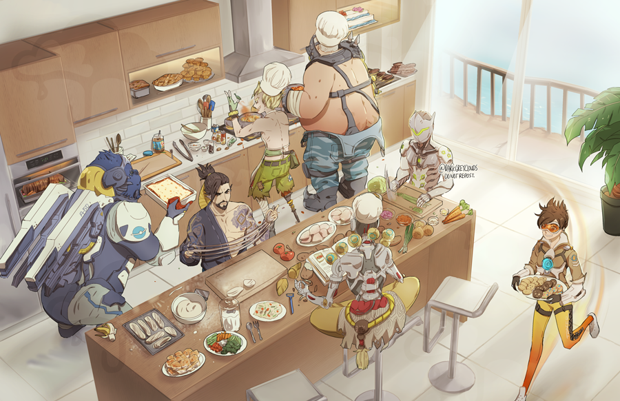 1girl 6+boys :d apron arm_tattoo armor asymmetrical_clothes bandaged_leg bangs bare_shoulders beard belt belt_pouch black_gloves blonde_hair bodysuit bomber_jacket boots bowl bracer brown_eyes brown_hair brown_jacket butt_crack cake carrot chair chef_hat collarbone commentary cooking counter cross-laced_clothes cross-laced_legwear curtains cyborg darkgreyclouds facial_hair fat fat_man fingerless_gloves fire flower_pot food fruit frying_pan gas_mask genji_(overwatch) glasses gloves goggles gorilla green_gloves green_shorts grin hanzo_(overwatch) harness hat headband helmet holding holding_plate humanoid_robot indian_style indoors jacket japanese_clothes jetpack junkrat_(overwatch) kitchen knife ladle leg_wrap mask military_rank_insignia multiple_boys mustache omnic open_mouth orange_bodysuit overwatch pants peg_leg plant plate pocket pot power_armor roadhog_(overwatch) robot rope running shirtless shoes short_hair short_ponytail shorts sitting sleeves_rolled_up smile spiky_hair steam stove table tassel tattoo teeth thigh_strap thrusters tomato tracer_(overwatch) twitter_username vambraces whisk white_hair white_shoes winston_(overwatch) zenyatta_(overwatch)
