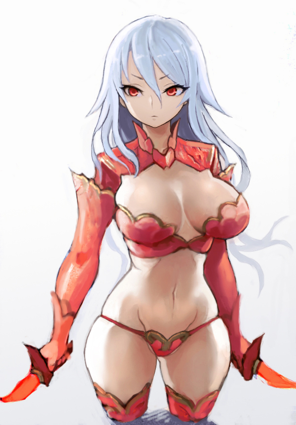1girl breasts cleavage copyright_request dual_wielding female hiro1984 large_breasts light_blue_hair long_hair midriff navel red_eyes red_legwear solo thigh-highs