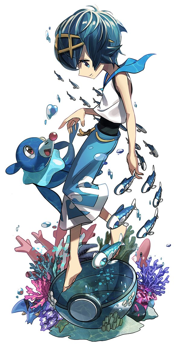 1girl air_bubble artist_request baggy_pants barefoot blue_eyes blue_hair breath bubble capri_pants clauncher coral corsola dive_ball floating freediving hairband luvdisc pants poke_ball pokemon pokemon_(creature) pokemon_(game) pokemon_sm popplio pyukumuku shirt short_hair sleeveless smile solo starfish suiren_(pokemon) swimsuit swimsuit_under_clothes trial_captain underwater water wishiwashi
