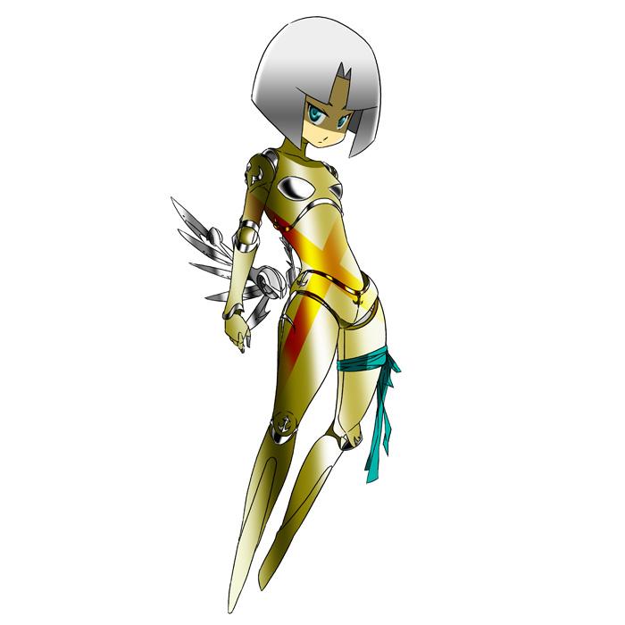 1girl android blue_eyes cross genderswap genderswap_(mtf) grey_hair hei_jin looking_at_viewer mechanical_wings robot_joints sandalphon serious shin_megami_tensei wings