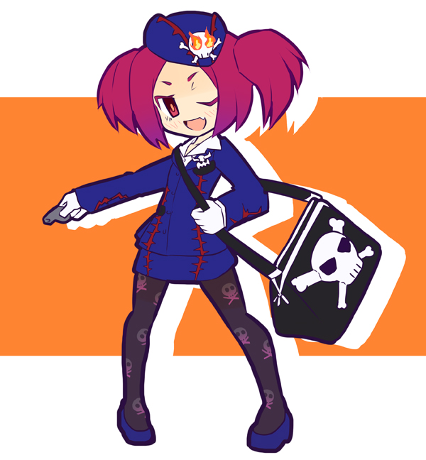 1girl bag duel_monster fang garoudo_(kadouhan'i) gloves hat open_mouth pantyhose red_eyes redhead skirt skull skull_and_crossbones smile solo tour_guide_from_the_underworld twintails whistle yu-gi-oh!