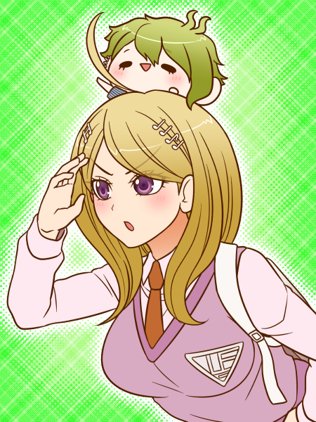 1boy 1girl ahoge akamatsu_kaede amami_rantarou arm_up backpack bag beamed_semiquavers blonde_hair chibi danganronpa ear_piercing green_background green_hair musical_note musical_note_hair_ornament necktie new_danganronpa_v3 on_head open_mouth orange_necktie piercing quaver randoseru school_uniform searching semiquaver shirt short_hair simple_background smile striped striped_shirt sweater_vest triangle_mouth upper_body violet_eyes yumaru_(marumarumaru)