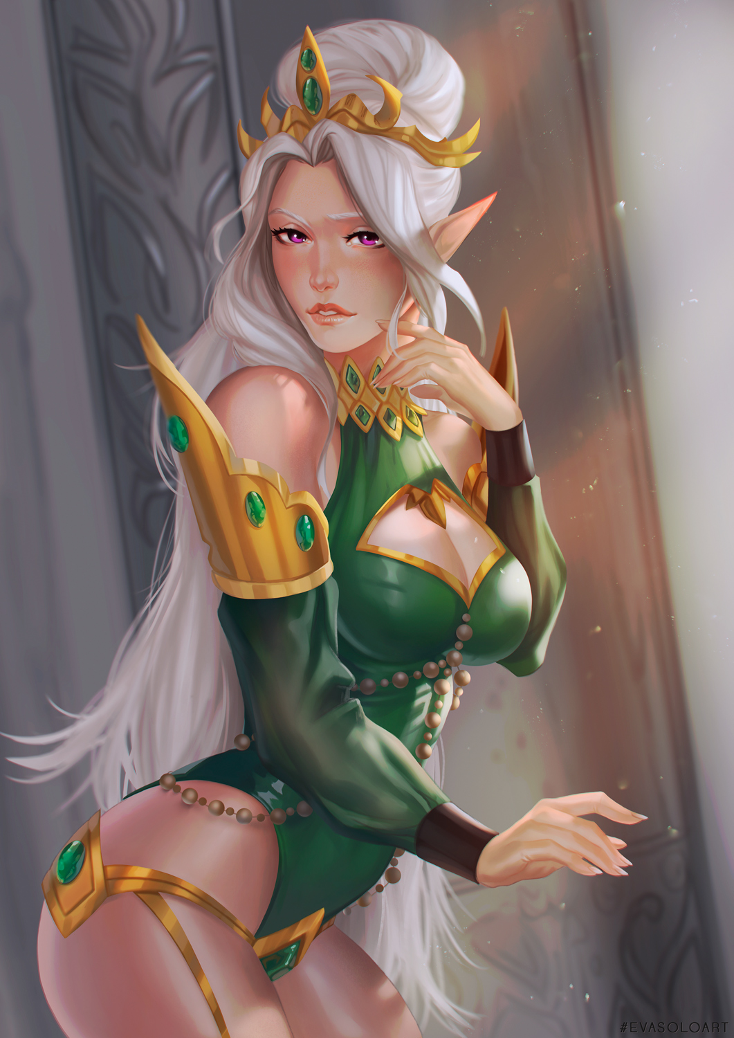 1girl breasts cleavage detached_sleeves dutch_angle elf eva_solo finger_to_cheek green_clothes highres long_hair looking_at_viewer parted_lips pointy_ears princess solo standing updo violet_eyes warcraft white_hair world_of_warcraft yuuleth_lightglade