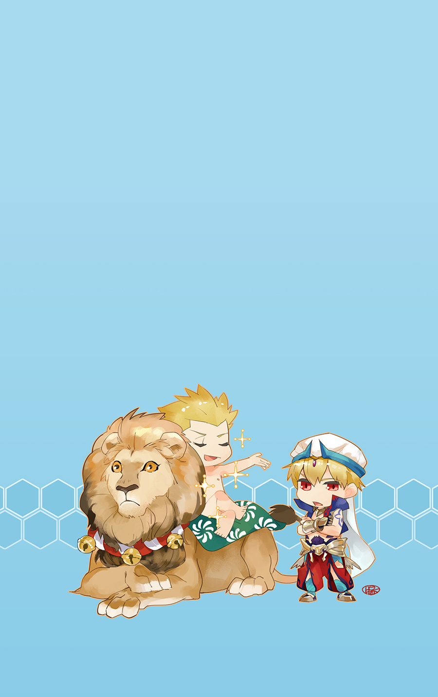 2boys arabian_clothes blonde_hair chibi cropped_vest crossed_arms dual_persona fate/grand_order fate_(series) gauntlets gilgamesh gilgamesh_(caster)_(fate) guttia high_collar highres lion multiple_boys nude puffy_pants red_eyes sparkle turban